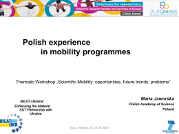 Polish experience in mobility programmes - BILAT-UKR