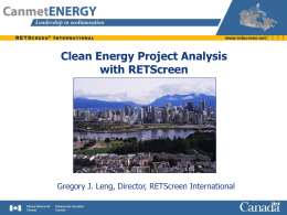 Clean Energy Project Analysis with RETScreen
