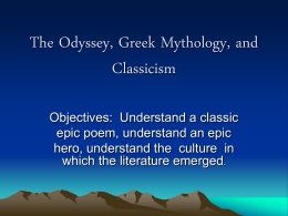 The Odyssey, Greek Mythology, and Classicism