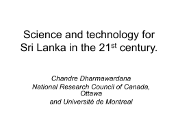 Science, technology and the 21st century: Sri Lanka's …