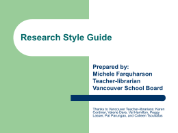 Research Style Guide - tlspecial / FrontPage