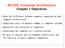 901320 Computer Architecture Chapter 1 Objectives