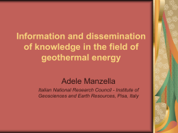 Information and dissemination of knowledge in the field …