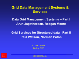 Grid Data Management Systems & Services