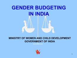 WORKSHOP ON GENDER BUDGETING For State …