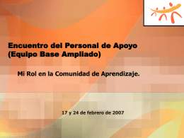 Encuentro del Personal de Apoyo (Equipo Base Ampliado)