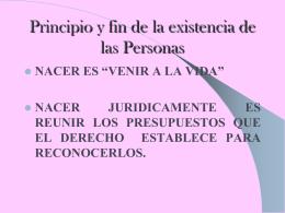 PRINCIPIO Y FIN DE LAS PERSONAS