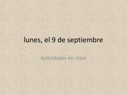 lunes, el 9 de septiembre