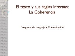 El texto y sus reglas internas: La Coherencia