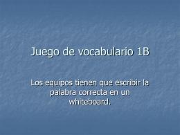 Juego de vocabulario 1B