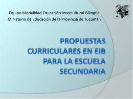 PROPUESTAS CURRICULARES EN EIB PARA LA ESCUELA …