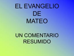 EL EVANGELIO DE MATEO UNA LECTURA COMENTADA