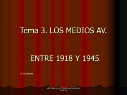 Tema 3. LOS MEDIOS AV. ENTRE 1918 Y 1945