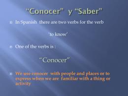 """Conocer"""" y """"Saber"""""""