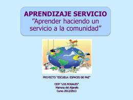 APRENDIZAJE SERVICIO Aprender haciendo un servicio a …