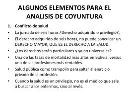 ALGUNOS ELEMENTOS PARA EL ANALISIS DE COYUNTURA
