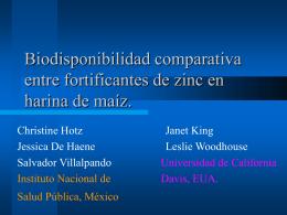 Biodisponibilidad comparativa entre fortificantes de zinc