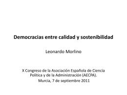 Democracia entre calidad y sosteniblidad