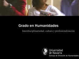 Grado en Humanidades - Portada. Universidad de Navarra