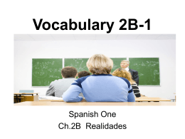 Vocabulary 2B