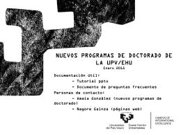 NUEVOS PROGRAMAS DE DOCTORADO DE LA UPV/EHU …