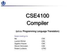 CSE244 Compiler (a.k.a. Programming Language …
