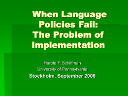 When Language Policies Fail: The Problem of …