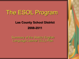 The ESOL Program - School District of Lee County