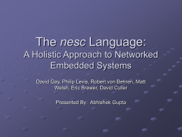 The nesc Language: A Holistic Approach to Networked