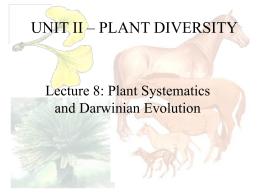 UNIT II – PLANT DIVERSITY