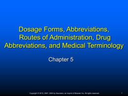 Chap 5 Dosage Forms, Routes of Administration