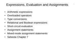 Expressions, Evaluation and Assignments
