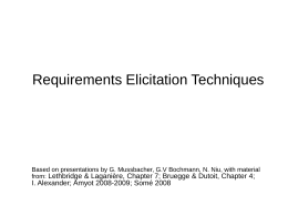 Requirements Elicitation Techniques