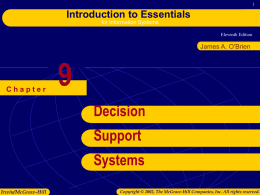 Chapter 9: Decison Support Systems