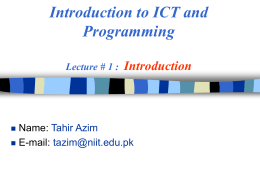 ICT & Prog - National University of Sciences and Technology