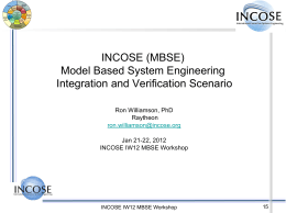 INCOSE (MBSE) Model Based System Engineering …