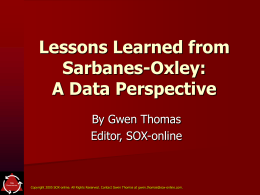 Lessons Learned from Sarbanes