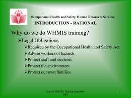 WHMIS GENERIC TRAINING