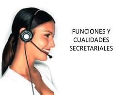 FUNCIONES Y CUALIDADES SECRETARIALES