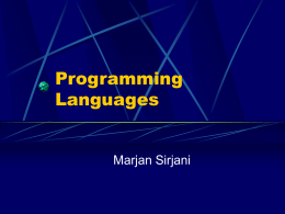 Programming Languages - University of Tehran