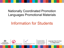 Nationally Coordinated Languages Promotional Materials