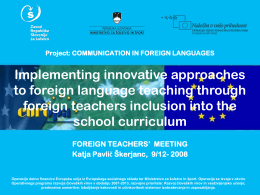 Project: COMMUNICATION IN FOREIGN LANGUAGES