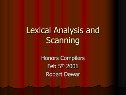 Lexical Analysis and Scanning