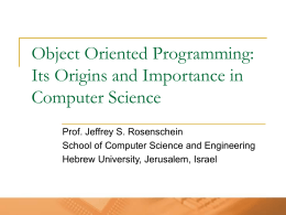 Object Oriented Programming: Its Origins and …