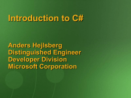 Introduction to C# - Ecma International