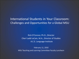 International Students in Your Classroom: Challenges and