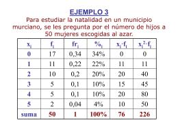 EJEMPLO 3 Para estudiar la natalidad en un municipio