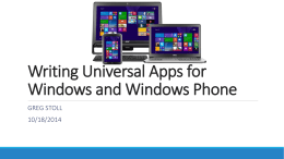 Writing Universal Apps for Windows and Windows Phone