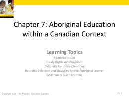Chapter 7: Aboriginal Education within a Canadian Context