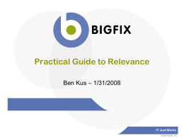Practical Guide to Relevance